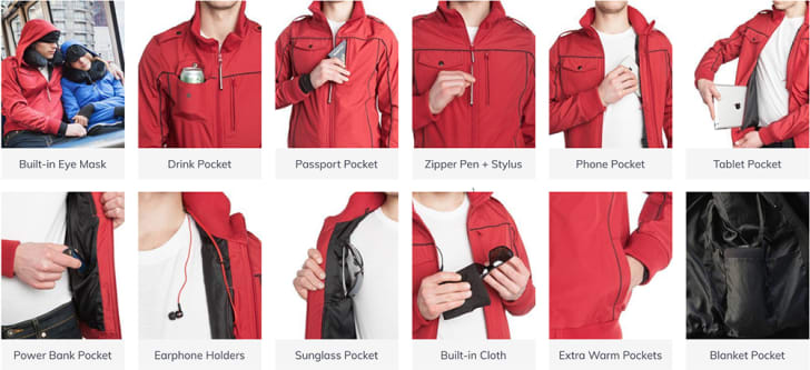 Close-ups of the 15 different pocket features of the men's BauBax bomber jacket
