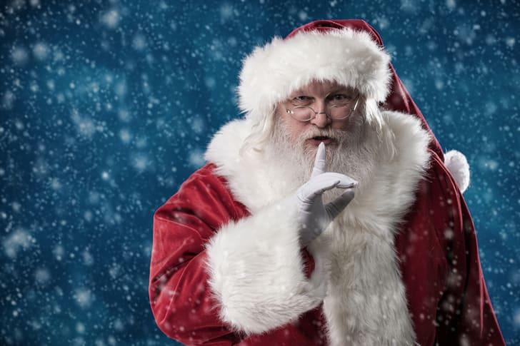 Santa shushing in the show.