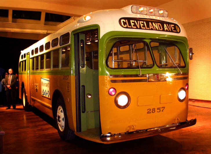 The restored Montgomery, Alabama bus where Rosa Parks refused to give up her seat, on display at the Henry Ford Museum