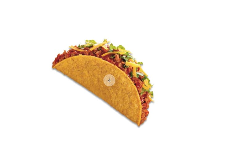 A hard-shell taco spins on a white background, labeled with the number four.