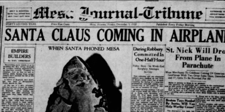 A scan of a 1932 newspaper headline announcing Santa's appearance in Mesa, Arizona