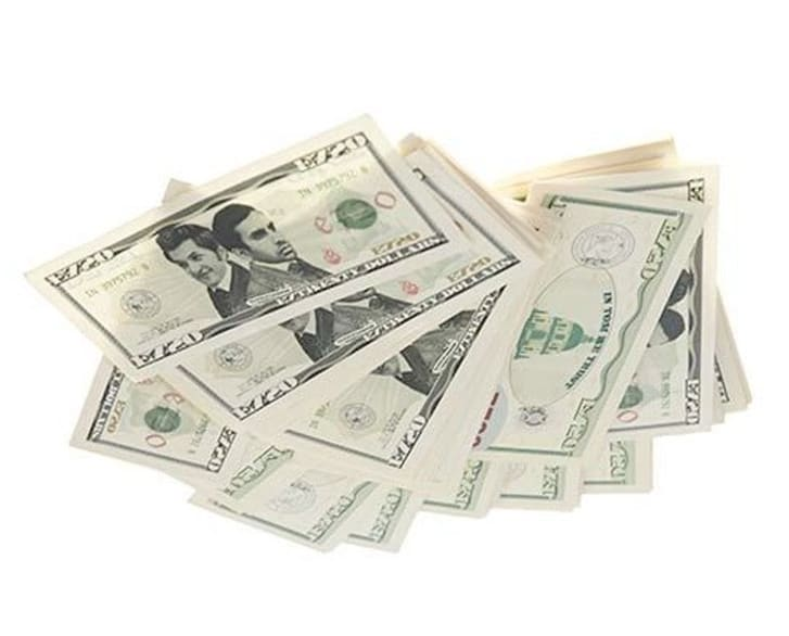 """Entertainment 720 Dollars Stack, featured on NBC show """"Parks and Recreation"""" and on sale in a new online auction hosted by auction house ScreenBid."""