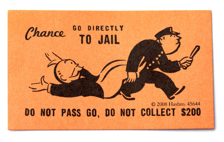 """An orange card that says """"Go directly to jail"""" and shows an illustrated police officer dragging a mustachioed man away."""
