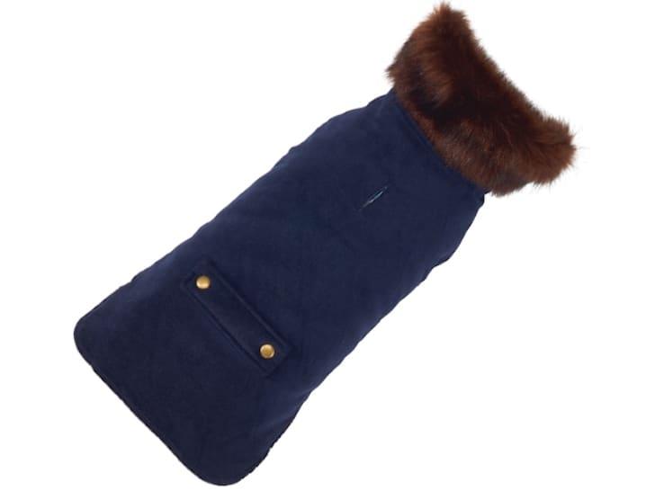 Blue velvet pet coat.