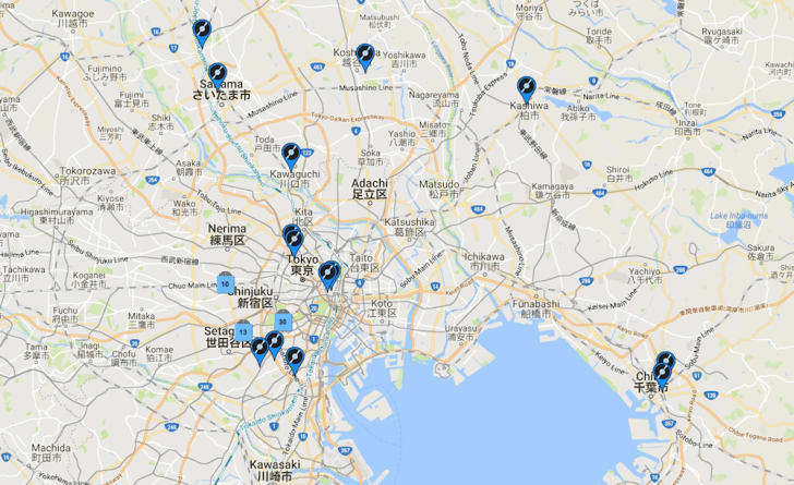 Map of record stores in Tokyo.