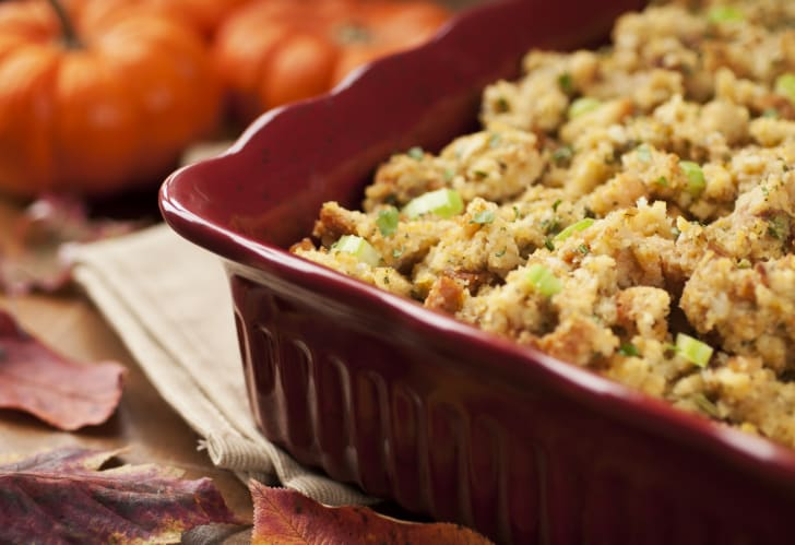 Pan of breaded stuffing.