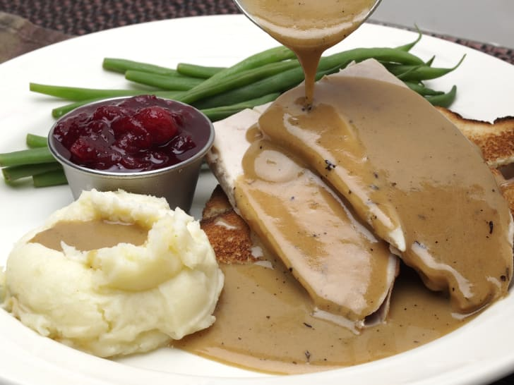 Plate of turkey and potatoes covered in gravy.