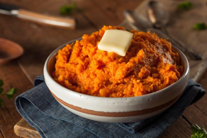 Bowl of mashed sweet potatoes.