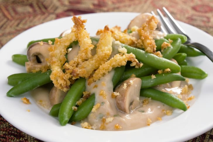 Plate of green bean casserole.