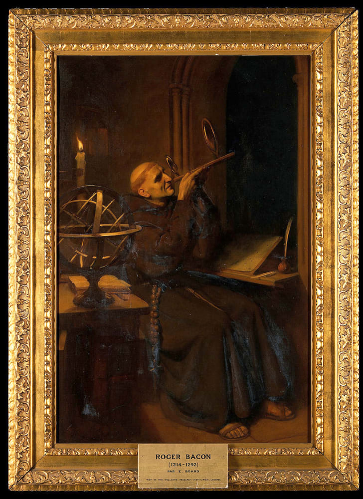 Oil painting of Roger Bacon in his observatory by Ernest Board