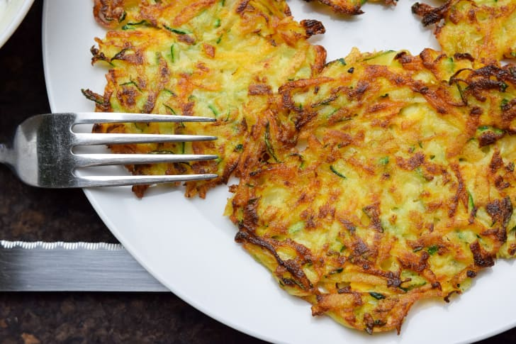 Plate of potato cakes.
