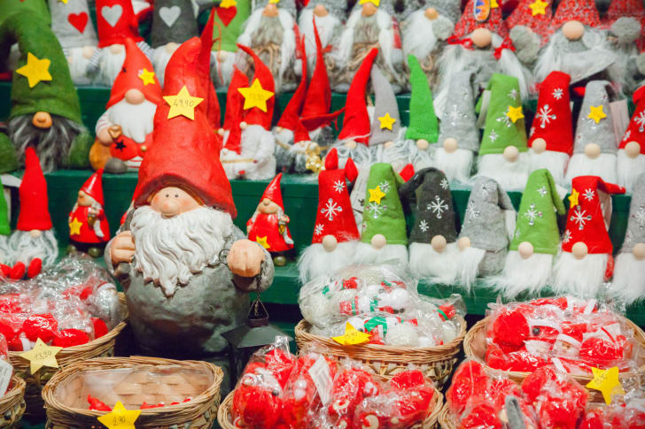 Rows of holiday gnomes.
