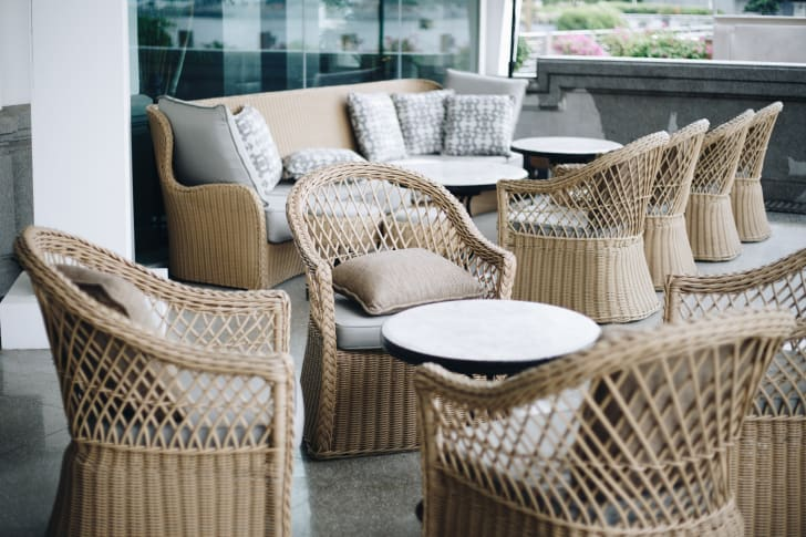 Display of outdoor furniture.
