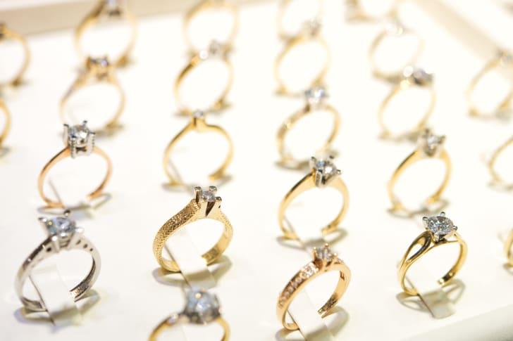 Rows of rings.