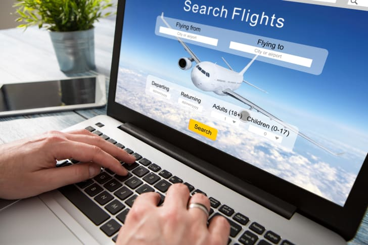 Searching for flights online.