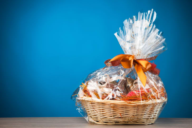 Gift basket against a blue background.