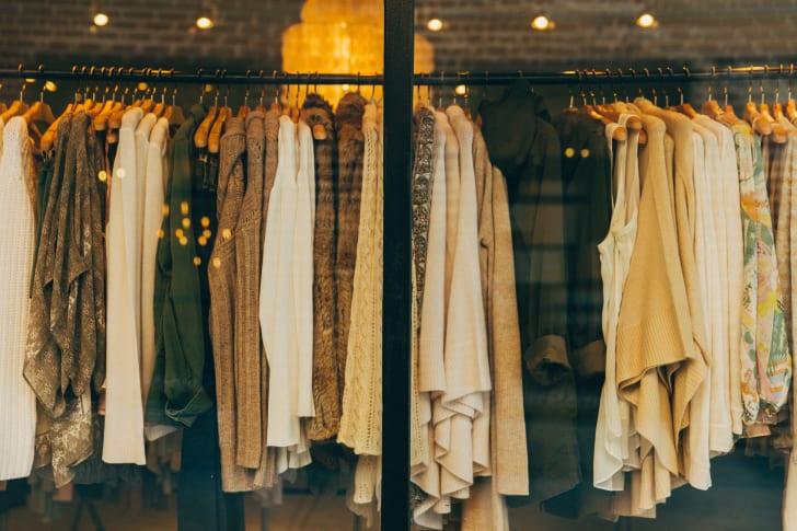 Rack of women's winter clothing.