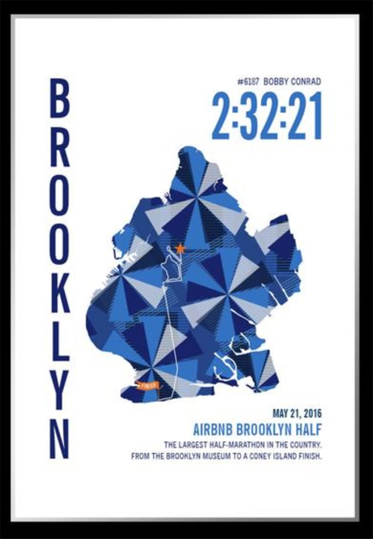 colorful map of brooklyn marathon from run ink