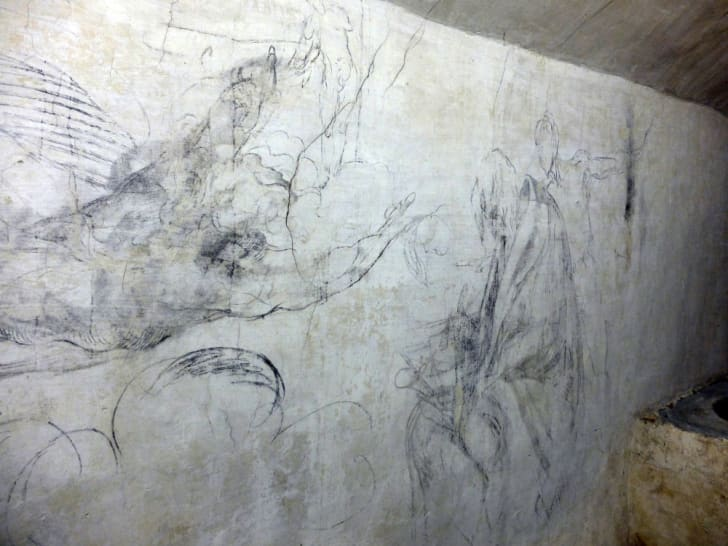 A drawing by Michelangelo under the Medici Chapels in Florence