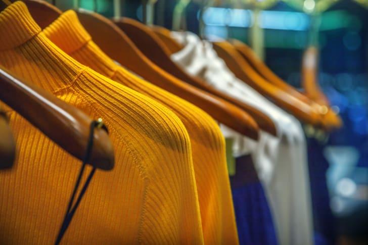 Rack of clothing.