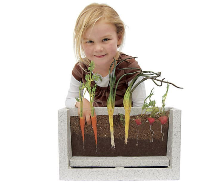 A little girl poses behind the Root Vue farm
