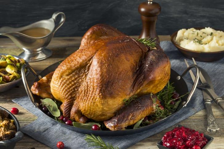 Roasted turkey on a platter