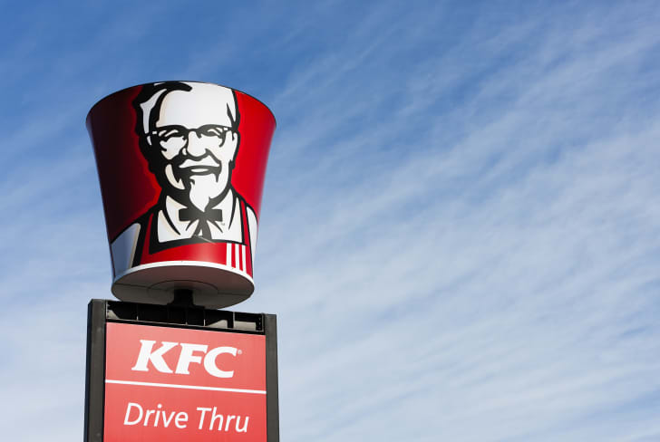 A large Kentucky Fried Chicken sign