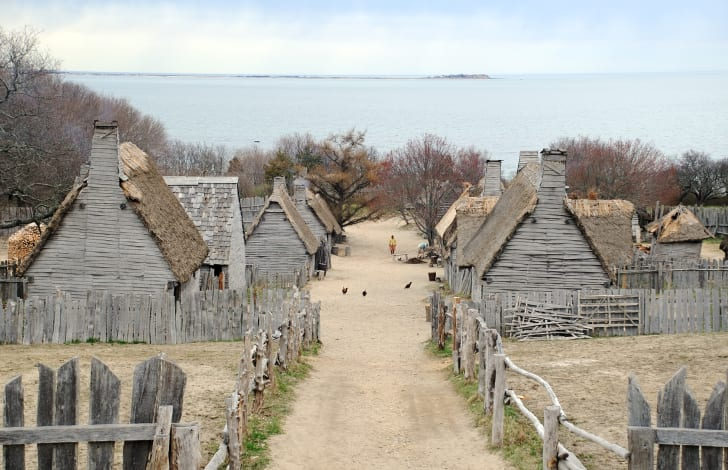 A recreation of the Pilgrims' first settlement