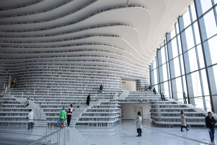 A general view of China's Tianjin Binhai Library.