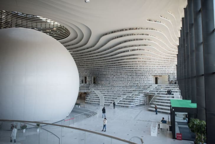 A general view of the Tianjin Binhai Library