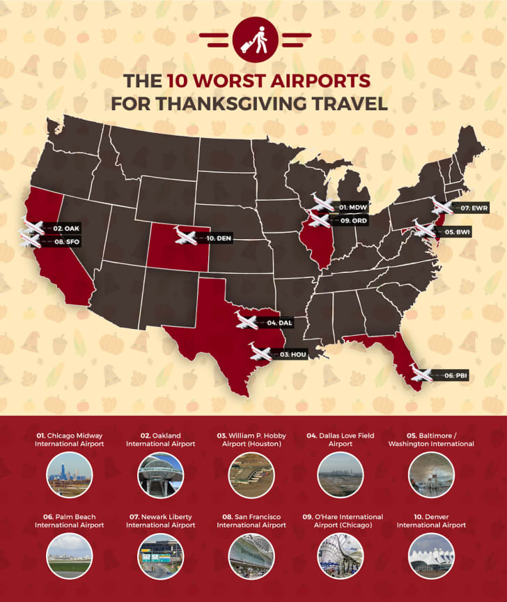 A map of the United States labeled with the worst airports for cancellations and delays
