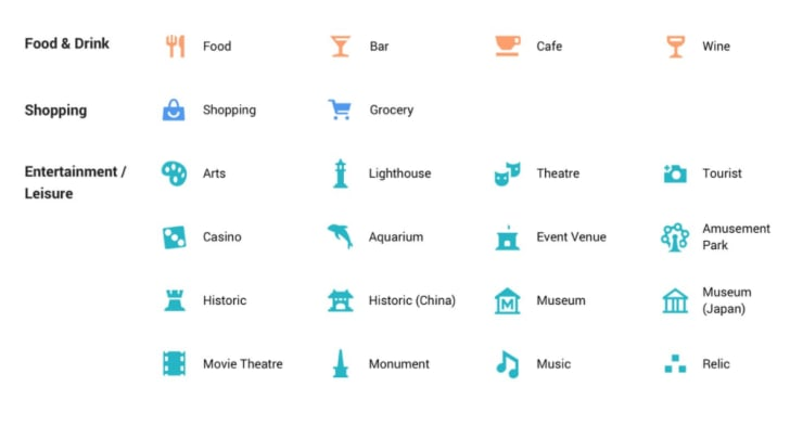 Icons for Google Maps.