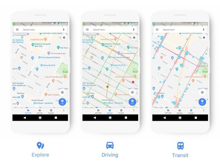 Phones with maps app open.