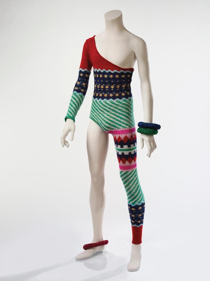 "An asymmetric knitted bodysuit designed by Kansai Yamamoto for musician David Bowie's 1973 ""Aladdin Sane"" tour."