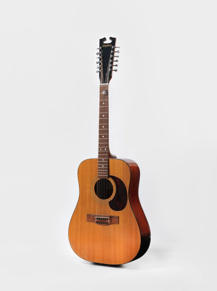 """One of David Bowie's acoustic guitars from the """"Space Oddity"""" era, 1969"""