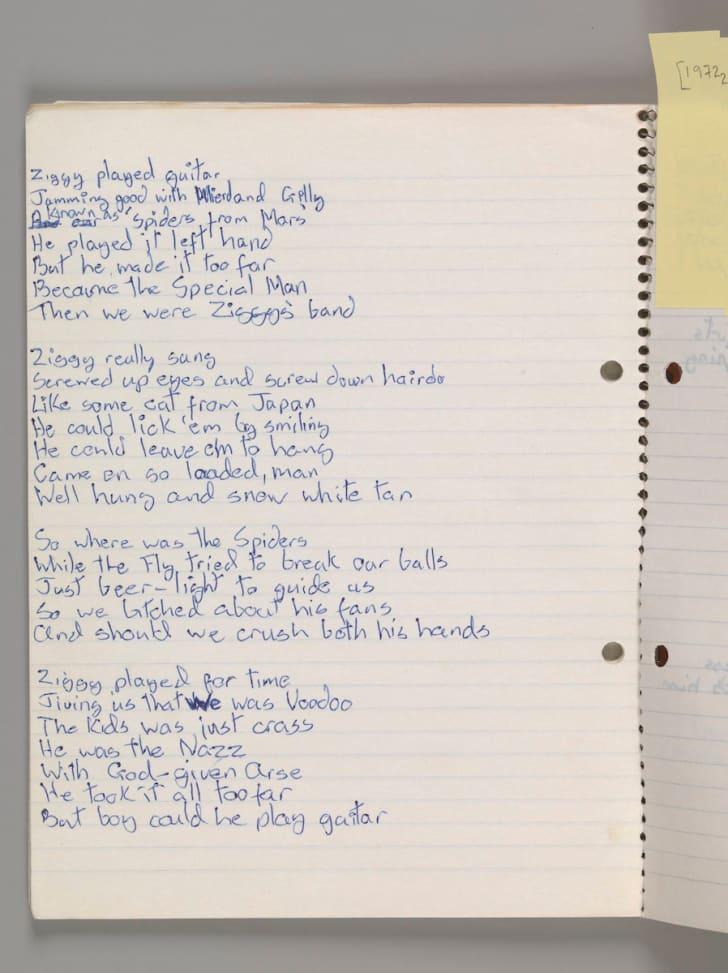 """Original lyrics for """"Ziggy Stardust,"""" by David Bowie, 1972"""