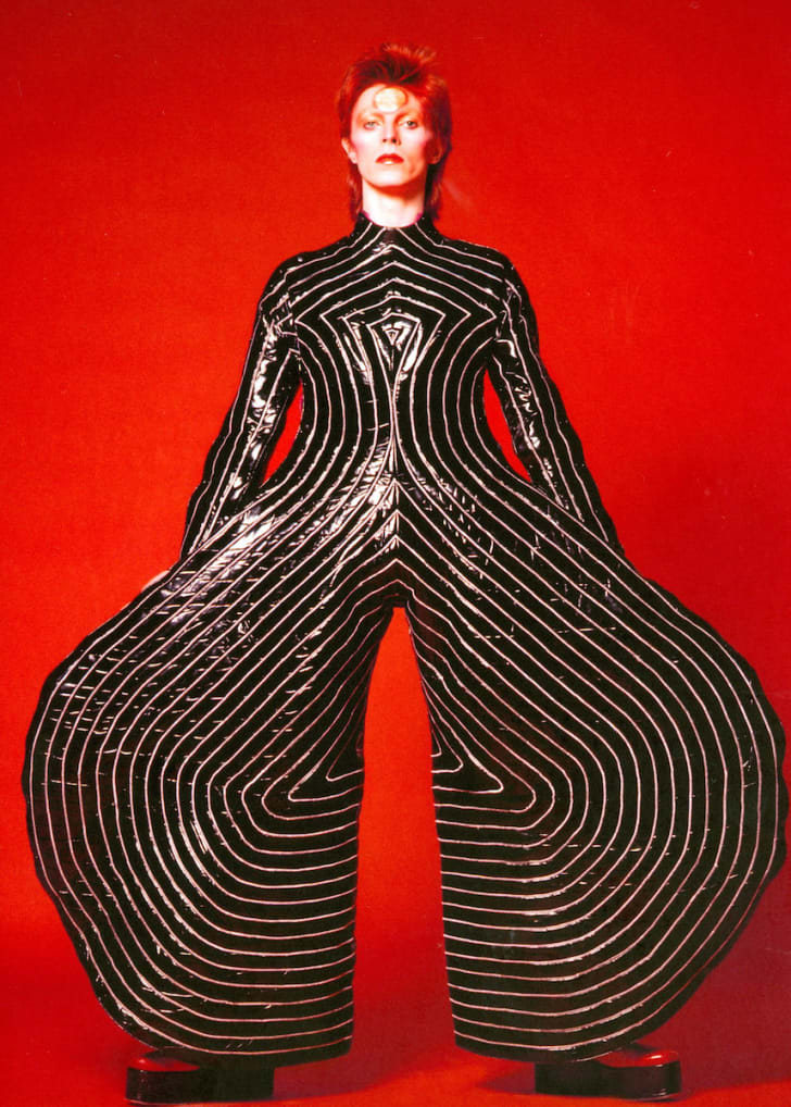 """Striped body suit worn by David Bowie during his """"Aladdin Sane"""" tour in 1973"""