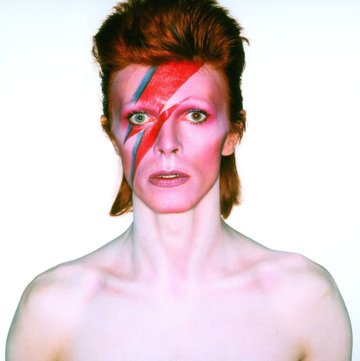 """Photograph from the David Bowie album cover shoot for """"Aladdin Sane, 1973"""
