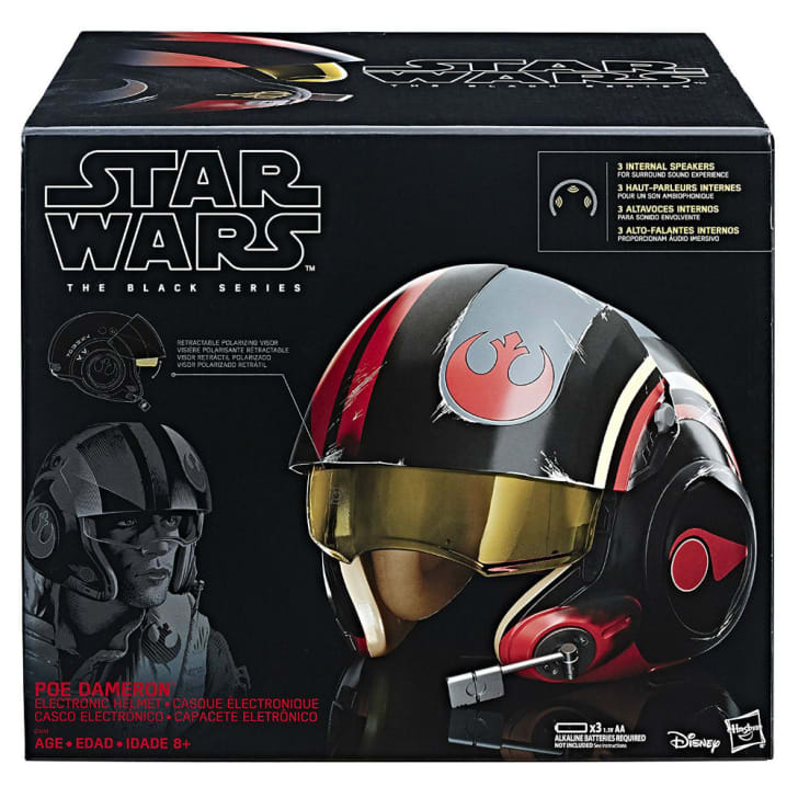 A Star Wars Poe Dameron X-wing helmet replica
