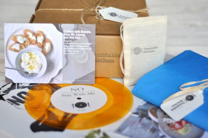 Vinyl disc and food recipe.