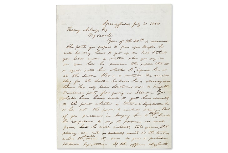 The first page of a letter from Abraham Lincoln to Henry Asbury