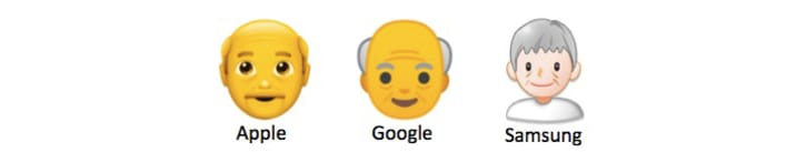 Three different old man emojis from Apple, Google, and Samsung