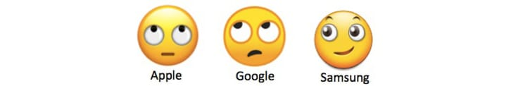 3 different face with rolling eyes emojis from Apple, Google, and Samsung