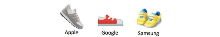 Three different running shoe emojis from Apple, Google, and Samsung