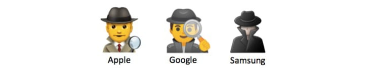 Three different detective emojis from Apple, Google, and Samsung