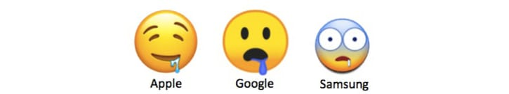 Three different drooling face emojis from Apple, Google, and Samsung