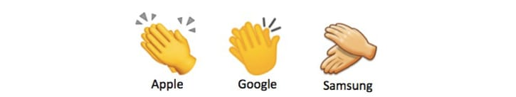 Three different clapping emojis from Apple, Google, and Samsung