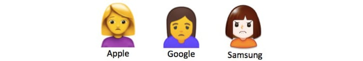 Three different person frowning emojis from Apple, Google, and Samsung