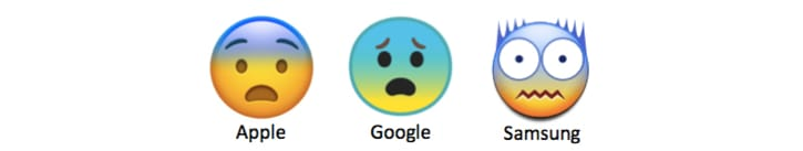 Three different fearful face emojis from Apple, Google, and Samsung