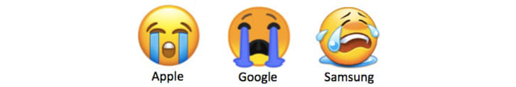 Three different loudly crying face emojis from Apple, Google, and Samsung